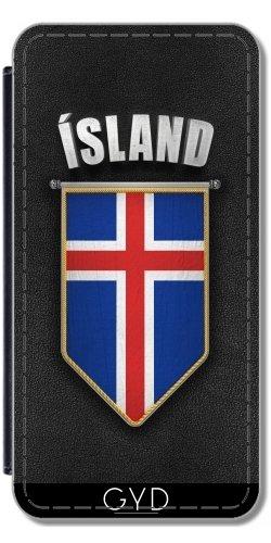 Leder Flip Case Tasche Hülle für Apple iPhone 6 Plus / 6S Plus - Island Wimpel Flagge by Carsten Reisinger Simili-Cuir