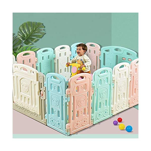 Baby Playpen HUYP Baby Fence Panels Baby Guard Fence Children's Foldable Playpen With Door Pet Fence (Size : 12 small pieces) Baby Playpen  4