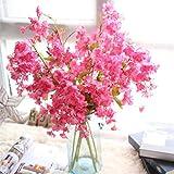 Mitlfuny Unechte Blumen, Künstliche Fälschung Kirschenblüte Seidenblume Bridal Hortensie Home Gartendekor Braut Hochzeitsblumenstrauß für Haus Garten Party Blumenschmuck (C)