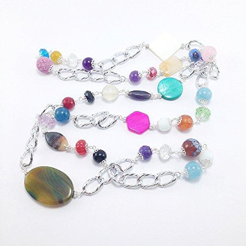 Collana lunga colorata con pietre dure, variegata maxi collana multicolore con catena in alluminio e pietre dure