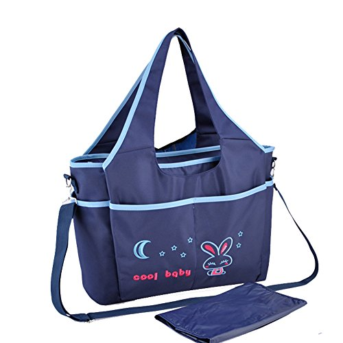 Fumee Wasserdichtes Baby Infant Mom/Dad Windel Handtasche Schultertasche Wickeltasche, mit Wickelunterlage (Lila) Blau