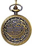 #10: LMP3Creation Bronze Classic Vintage Retro Antique Skeleton Hollow Owl Pair Chain Pocket Watch (POW-0215)