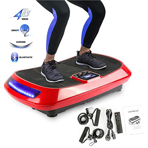 Wefun 4D Fitness Plate Vibrationstrainer,3 Motoren + Bluetooth Audio + LCD-Bildschirm + Fernbedienung,Vibrationsplatte Body-Shaper der Eignungs-Ausrüstung für Den Büro-Wohnzimmer