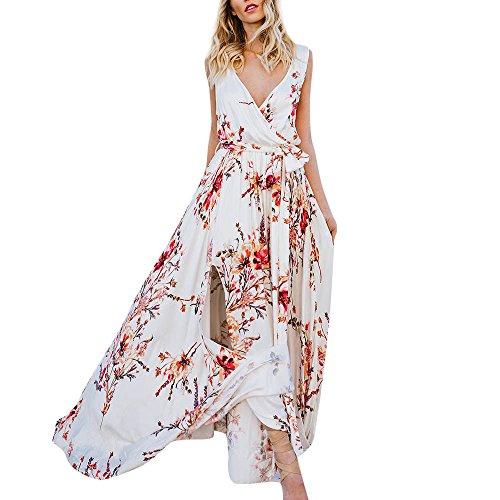 Ears Women's Party V BacklessFloral Printed Sleeveless Bandage Summer Long Dress Beach Dress Sommerkleider Off Shoulder Partykleider