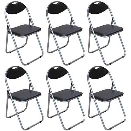 Pack of 6 Folding Chairs - Black Padded Faux Leather Folding Office, Computer, Desk Chairs