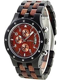 Reloj de pulsera Bewell para hombre con caja de madera de ébano y cronógrafo de correa Elegante y sofisticado cronógrafo multifuncional elegante. Gran idea regalo