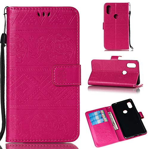 BestCatgift Mi Mix 2S Wallet Funda, [Embossed Elephants] Magnetic Protective PU Leather Flip Folio Cover para Xiaomi Mi Mix 2S - Rose Red