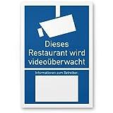 Restaurant wird videoüberwacht Kunststoff Schild nach DIN 33450 (20 x 30cm), Warnhinweis, Hinweisschild Videoüberwachung - Informationen Betreiber, Hinweis Videoüberwachung - Datenschutz BDSG/DSGVO