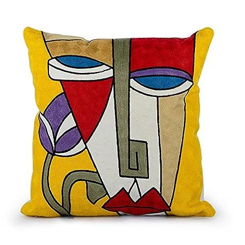 Top Finel Superbes Taies d'Oreiller Coussin décoratives 100% Coton Broderie Picasso Design créatif, 45cmx45cm (KD011C)