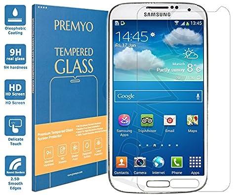 PREMYO Samsung Galaxy S4 mini Panzerglas. Samsung Galaxy S4 mini Schutzfolie mit Härtegrad 9H und abgerundeten Ecken 2,5D. Samsung Galaxy S4 mini Schutzglas
