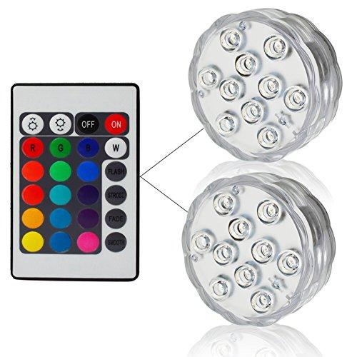 JAYLONG 10 LED RGB Unterwasser Licht IP68 Wasserdicht Für Aquarium Wasser Teich Aquarium,2SET -