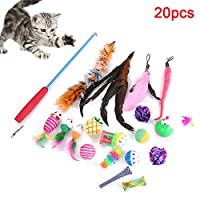 Hzb821zhup 20Pcs Cat Toy Telescopic Rod Mouse Spring Bell Toy Cats Teaser Stretchable Stick Bell Ball Mouse Doll Feather Play Toys