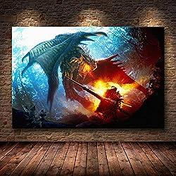 Leinwandbild, Motiv Monster Hunter World auf HD, ohne Rahmen, 06, 50 x 75 cm