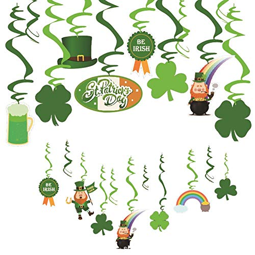 Ritapreaty Clover Shape Spiral Anhänger St. Patrick's Day Party Dekoration Festival Spiral Ornament 【Packung à 30 Stück】