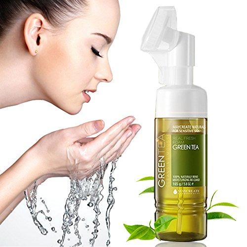 Reinigungsschaum für das Gesicht, Reinigungsmilch, Reinigungsmousse, Green Tea Cleansing Mousse Foam, Kosmetik Gesichtspflege für ölige Haut, Belebt & erfrischt Klares Hautbild, tägliche Gesichtsreinigung für sichtbar reinere Haut, 165g