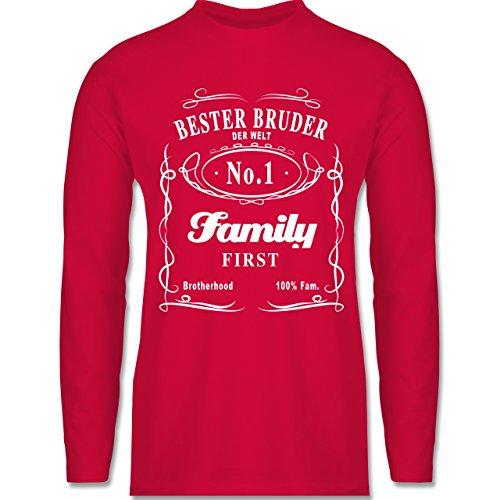 Shirtracer Bruder & Onkel - Bester Bruder Lettering - Herren Langarmshirt Rot