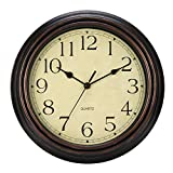 LENRUS 12-Zoll Leise Nicht tickende Runde Wanduhren Dekorative Vintage-Stil-Uhr, Batterie betrieben mit HD-Glas Leicht zu Lesen für Innen-Dekor (Bronze)