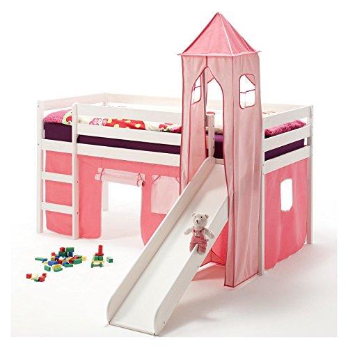 Rutschbett Hochbett Spielbett Bett BENNY Kiefer massiv weiss mit Turm+Vorhang pink 90 x 200 cm (B x L) mit Rutsche
