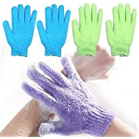 Green Home Double Sided Exfoliating Gloves Body Scrubber Scrubbing Glove Bath Mitts Scrubs for Shower, Body Spa Massage…