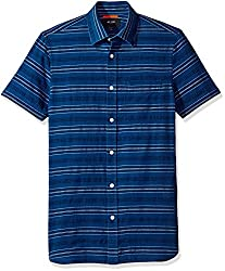 Jack Spade Mens Stripe Short Sleeve Dobby Shirt, Indigo, X-Large