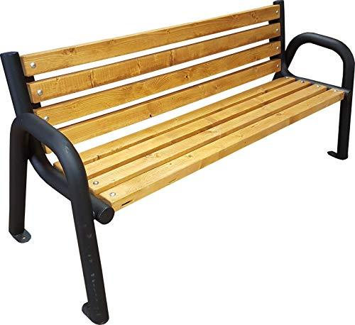 Gartenbank Parkbank Holzbank Massiv Sitzbank Garten Balkon Bank Holz Metall Wetterfest Gartenmöbel Erwachsene und Kinder Outdoor (Pinie, 150)