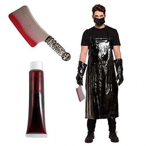 (Unheimlich metzger Halloween horror kostüm bündel mit blutigen cleaver messer one size passt am meisten)