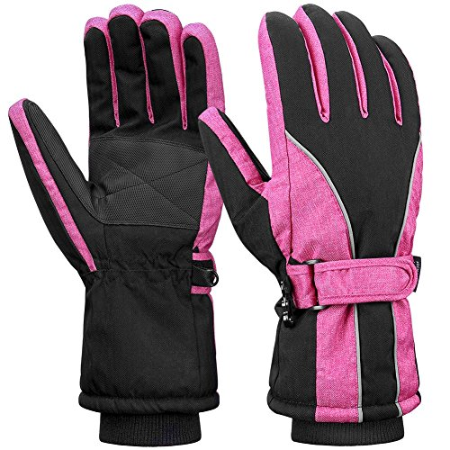 Terra Hiker Womens Waterproof Ski Gloves, Thermal Thinsulate Gloves for Winter Sports Red M