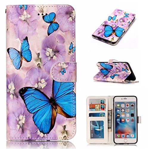 iPhone 6/6S Coque, Voguecase Étui en cuir synthétique chic avec fonction support pratique pour Apple iPhone 6/6S 4.7 (Papillon/Fleur bleu)de Gratuit stylet l'écran aléatoire universelle Papillon/Fleur bleu
