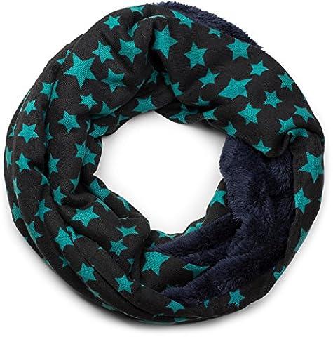 styleBREAKER Feinstrick Loop Schlauchschal mit Sterne Muster und kuschlig weichem