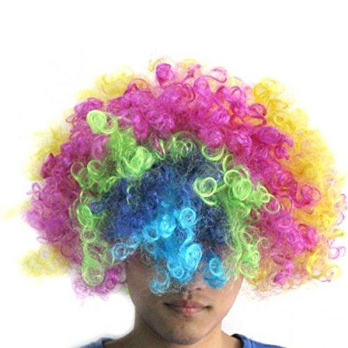 ROSENICE Bunte Clown Perücke Jester Afro Prop Perücken Outfits Kostümzubehör (Jester Outfit)