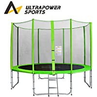 Preisvergleich für ULTRAPOWER SPORTS Trampolin mit Sicherheitsnetz, Komplett-Set inkl Leiter und Randabdeckung Gartentrampolin 244, 305cm - Grün