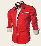 PEARL OCEAN Men's Slim Fit Casual Shirt (MM-F1SD-N93O_Red_38)