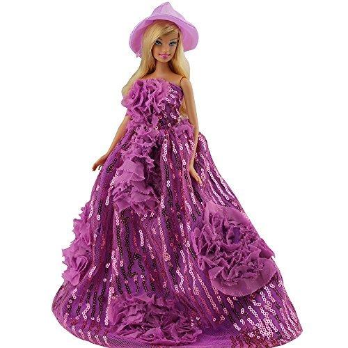 Princesa Vestido Ropa lleva fiesta noche Outfit Set para muñeca Barbie con sombrero