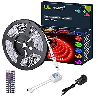 LE 12V DC RGB LED Strip Lights Kit,150 Units SMD 5050 LEDs, Non-Waterproof 5m LED ribbon,44 Key IR Remote Controller and Power Adaptor Included, Multi-coloured LED Tape, Christmas Decoration Lighting - cheap UK light shop.