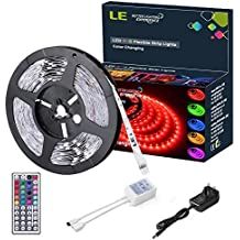 LE 12V DC RGB LED Strip Lights Kit,150 Units SMD 5050 LEDs, Non-Waterproof 5m LED ribbon,44 Key IR Remote Controller and Power Adaptor Included, Multi-coloured LED Tape, Christmas Decoration Lighting
