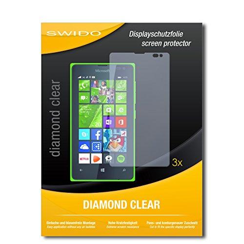 SWIDO 3 x Schutzfolie Microsoft Lumia 435 Bildschirmschutz Folie DiamondClear unsichtbar