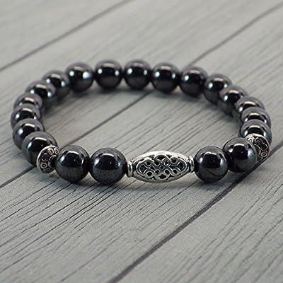 Bracelet pour femme Thurcolas ethnique Zen avec perles en Hématite et perles tibétaines en métal argenté