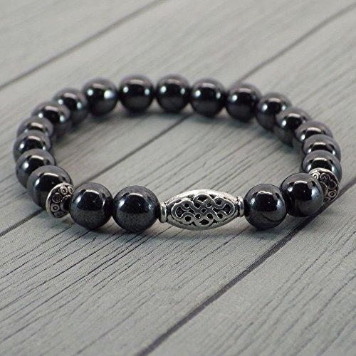 bracelet-thurcolas-ethnique-zen-avec-perles-en-hematite-et-perles-tibetaines-en-metal-argente