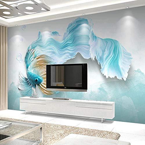 Benutzerdefinierte selbstklebende Wandbild Tapete moderne 3D abstrakte blaue Fische Wohnzimmer Sofa TV Hintergrund wasserdichte Aufkleber Wand Schlafzimmer @ 350 * 245cm -