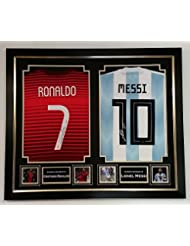 www.signedmemorabiliashop.co.uk Lionel Messi y Cristiano Ronaldo Firmados Camiseta Maillot autografiado