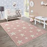 Moderner Kurzflor Kinderteppich Sternendesign Kinderzimmer Pastell Rosa Weiß, Grösse:200x280 cm