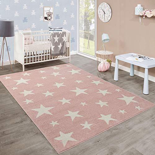 Tappeto per Bambini Moderno A Pelo Corto Design Stelle Camera dei Bambini Pastello Rosa Bianco, Dimensione:80x150 cm
