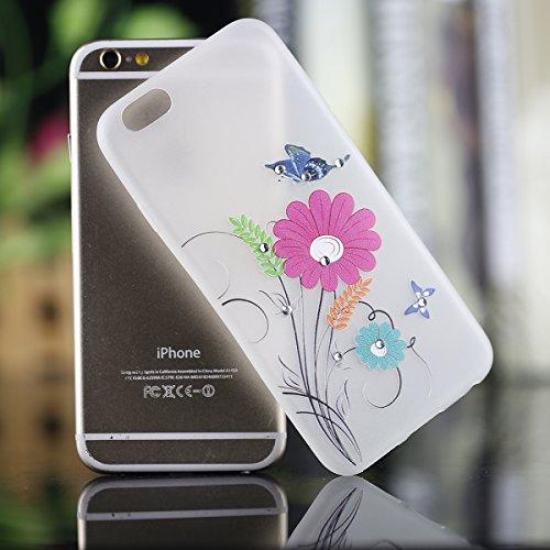 Coque Housse Etui pour iPhone 6 Plus/6S Plus, iPhone 6S Plus Coque en Silcone avec Bling Diamant, iPhone 6 Plus Coque Noctilucent Souple Slim Etui Housse, iPhone 6 Plus/6S Plus Silicone Case Soft Gel  Gerbera