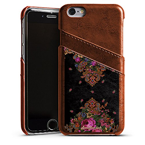Apple iPhone 5s Housse Étui Protection Coque Lena Hoschek Motif floral Ornements Étui en cuir marron