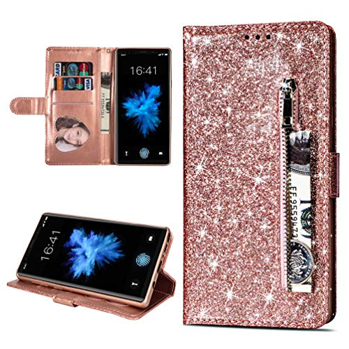 LaVibe Coque Samsung Galaxy Note 9, Housse en Cuir PU Leather Etui Portefeuille à Rabat Glitter Clapet Support Fermeture éclair Porte Video Stand, Flip Wallet Protective Case Cover–Or Rose