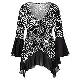 Yvelands Damen Langärmliges T-Shirt Tops Langarm Blumendruck Unregelmäßiger Saum Zip Shirt Lässige Blusen Tops(CN-L,schwarz)