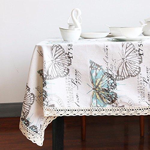 Andrui farfalla pizzo tovaglia tovaglia in cotone lino decorativo tavolo copertura tovaglia rettangolare wedding party hotel tovaglia di cotone lino multi taglie, color mixing, 140x160cm(55x63 inch)