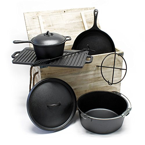 Cast iron camping oven set 7pcs dutch oven cookware cooking set skillet pot pan griddle
