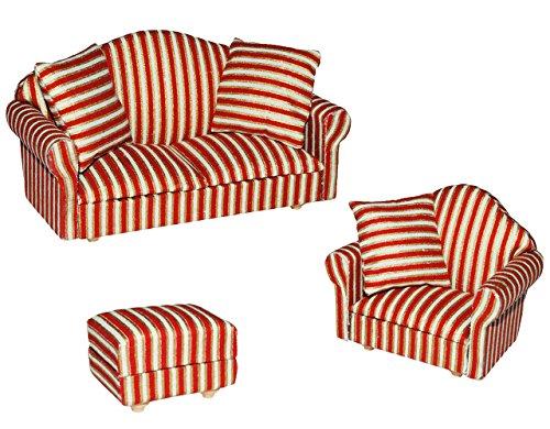 Preisvergleich Produktbild 3 tlg. Set: Miniatur Wohnlandschaft / Sofa Couch + Sessel + Hocker mit Kissen - für Puppenstube Maßstab 1:12 - rot weiß golden - gestreift - Puppenhaus Puppenhausmöbel Sessel Wohnzimmer Klein - für Wohnzimmerlandschaft - Puppensofa - Möbel - Miniatur Diorama
