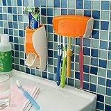 Strollway Badmöbel Zubehör Badezimmer-an der Wand befestigter automatischer Zahnpastaspender-Quetscher-Zahnbürsten-Halter-Satz (Farbe : Orange)